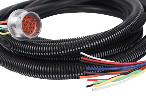 Industrial Cable Assembly with Circular Connector & Protective Tubing