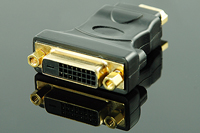 HDMI Male (19p) to DVI Female (24+1) Adapter, Gold Plated, Black,
