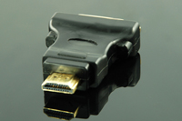 HDMI Female (19p) to DVI Male (24+1) Adapter, Gold Plated, Black,